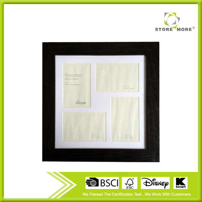 MDF Black 4 Pictures Display Small Photo Frame
