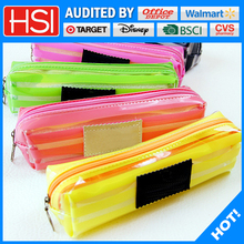 multifunction candy color stripe pencil case for girls