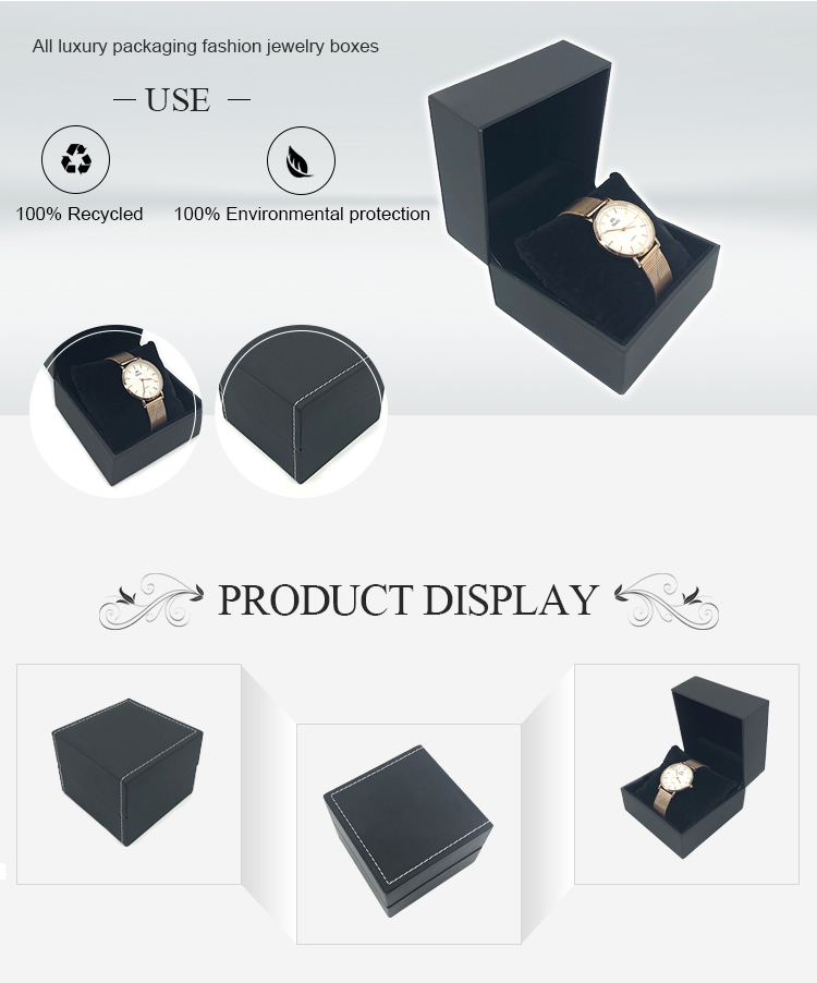 도매 Unique 수 제 Black 여행 Luxury 포장 Single 빈 가죽 Watch Storage Box Case
