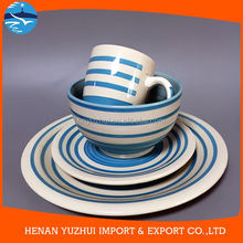 Wholesale circle design blue and white chinese dinnerware for promotion
