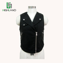 Fashion PU Viscose Leather Vest&Gilets With Simple Letter Printing Sleeveless Lapel Coat
