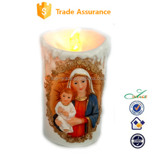 resin LED candle shape religious Virgin Mary with baby Jessus night light