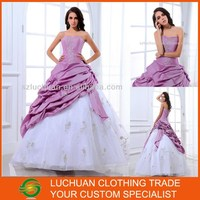 Elegant Off Shoulder Strapless Beaded Embroidery Ball Gown Purple And White Wedding Dresses