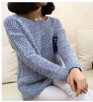 F60271R PULLOVER BIG SIZE LOOSE MOHAIR KNIT COAT