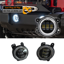 Buggy 4x4 auto spare parts car front bumper light 4 inch Jeep Wrangler LED fog light with DRL and turning light