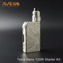 In stock 2017 Newest Tesla Nano 120W Starter Kit vape box mod vapor starter kit wholesale price