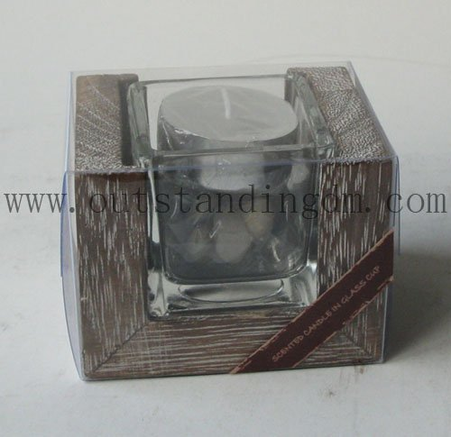 Scented Tealight Wax Candle In Glass Candle Tin With Wooden Candle Holders