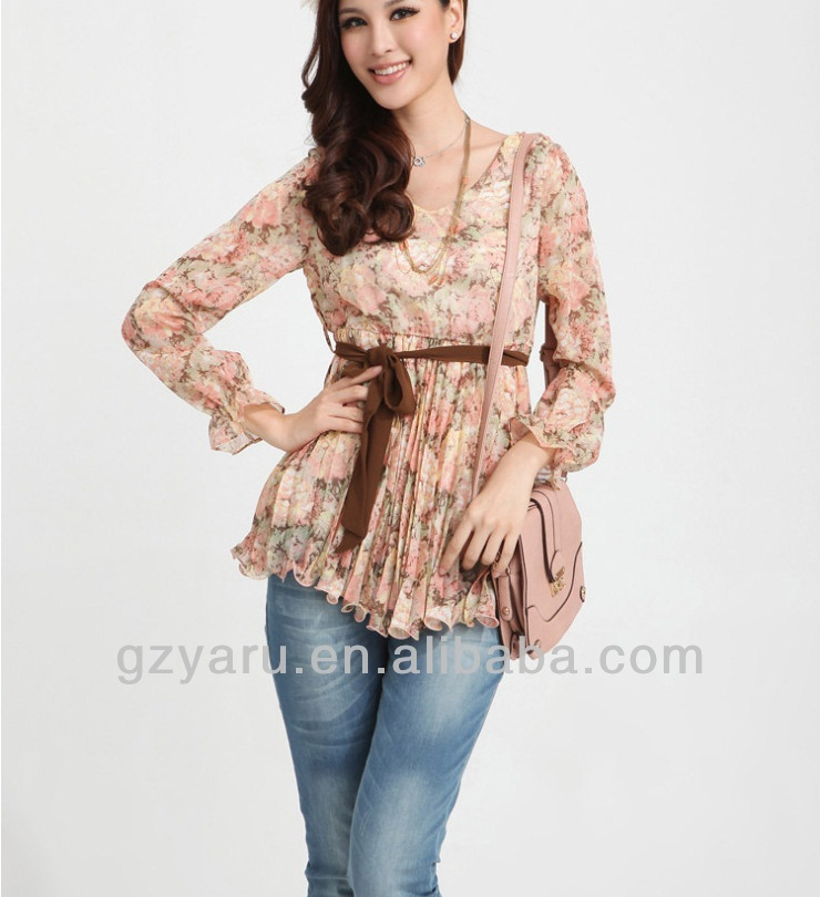 wholesale plain evening peplum chiffon blouse