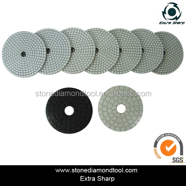 4 Inch Dry & Wet 7-Step White Polishing Pads Abrasive Diamond Tools for Granite/Concrete/Marble
