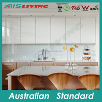 AIS LIVING Italian kitchen cabinet manufacturers high gloss vinyl wrap