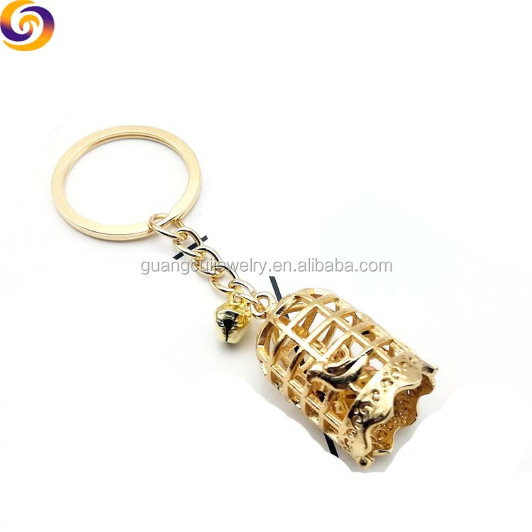 Wholesale Zinc alloy metal 3d bird cage birdcage keychain keyring key ring