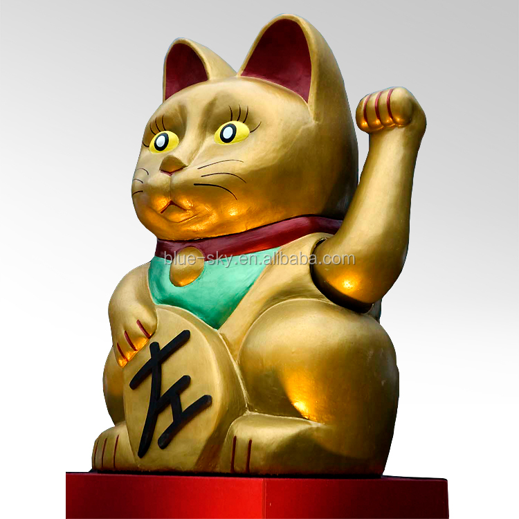 Custom made giant fiberglass fortune cats sculpture for retail market