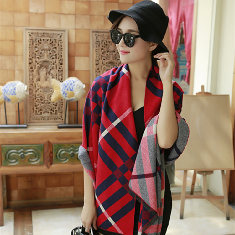 Double lattice of new fund of 2016 autumn winters is imitation cashmere super upset scarf shawls and warm