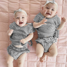 new model fashion stripe design children 2 pieces clothing sets