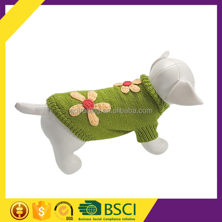 Hot First Class Pretty Green Sweater Two-flower Decorate Pet Dogs Clothes