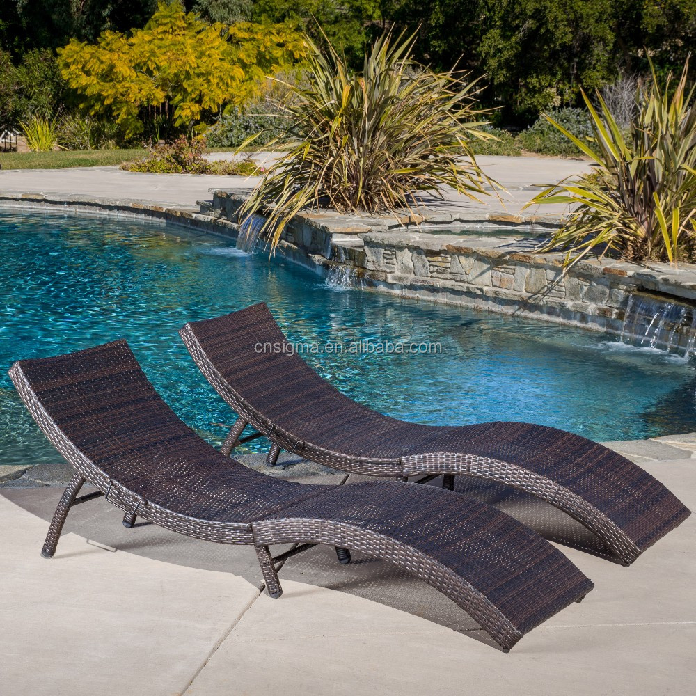 2016 leisure used rattan curve sun lounge hotel used for Swimming pool loungers