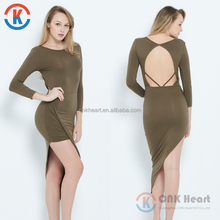 Fashion design elegant long sleeve women backless green bodycon dress