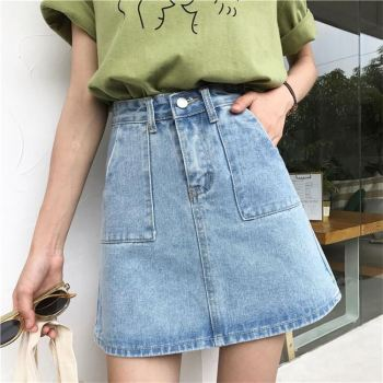 Wholesale women a line solid plain denim mini skirts