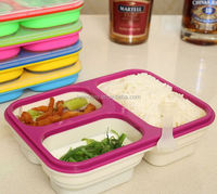 2015 popular 100% food grade silicone foldable kids lunch box with lock