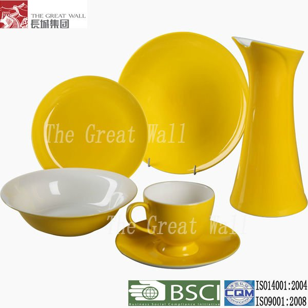 Modern yellow glazed fine bone china dinner set