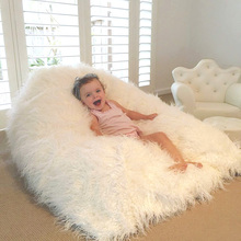 Taidian wholesale White Shaggy Faux Fur Kids bean bag Chair