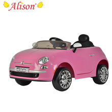 Hot selling Italy FIAT popular electric cheap plastic blue color ride on toys cars for kids