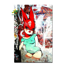 Sexy Fox Girl Giffiti Art Hot Sale Canvas Painting High Quality Stretched Canvas Print Picture