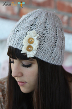 235 light gray cable knitted beanie with lace and wood buttons