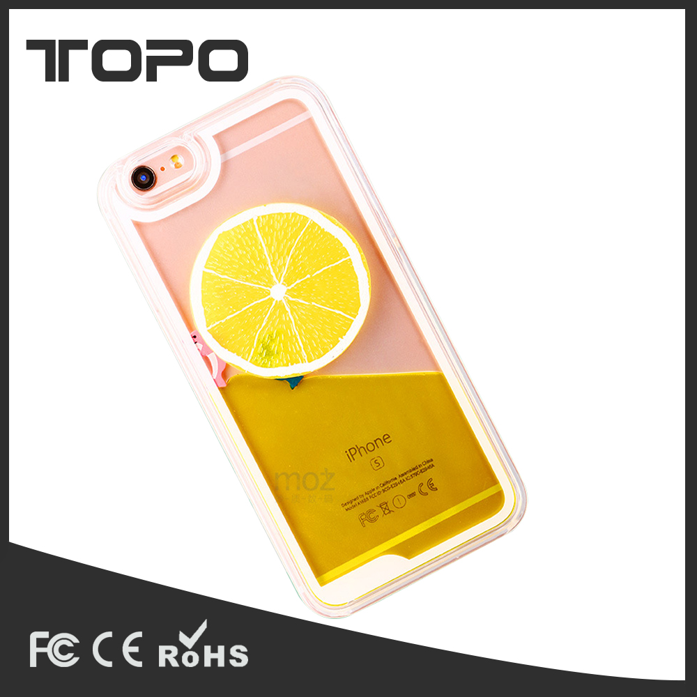 summer fruit drinks Liquid Transparent lemon PC phone case for iphone 7 6 6plus