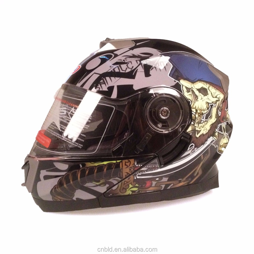 Flip up helmet motorcycle Modular type with Double Visors , Moto cascos BLD-160