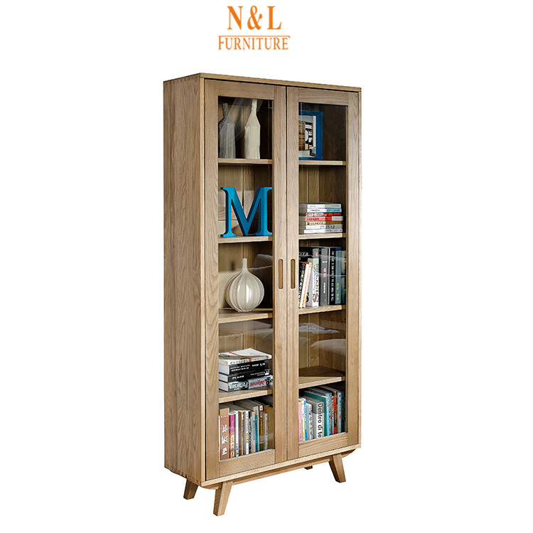 New Style 5 shelf bookcase with glass doors model