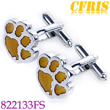 Yellow footprint cufflink set stainless steel jewelry findings