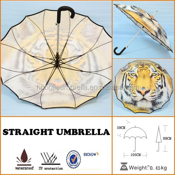 Tiger printed hook handle strong bench with umbrella