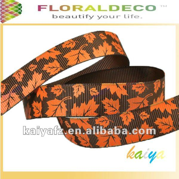 Maple Leaves Print Grosgrain Ribbon