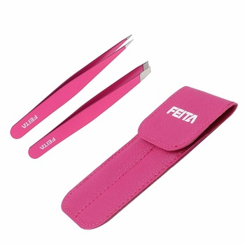FEITA Eyebrow Tweezers, Beauty Tools for Eyebrow Make-up Plucking/Shaping,Hand Finished- Stainless Steel - Pink Tweezers For Wom