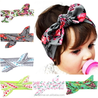 DIY Children Fashion Printed Cotton Stretch Knit Hair Band Fancy Baby Knot Turban Headband For Girls