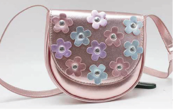 Metallic PU Leather Girls Purse Handbag High Quality Crossbody Bag with Flowers Sling Bag Mini Shoulder Bag