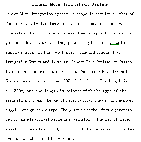 Linear Irrigation System