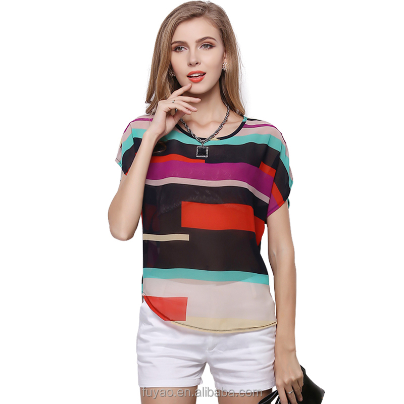Fashion 2017 new summer women blouses Big plus size shirts rainbow stripes top loose colorful ladies chiffon Blouse Camisa