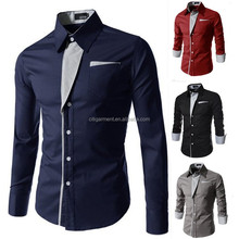 stock Fashion Style Mens Casual Shirts Long Sleeve Chest Striped Design Solid Male Dress Slim Fit Social Shirt For Men M-3XL