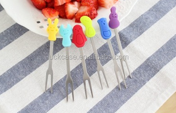 Cute Design High quality food grade finger stainless steel fruit silicone fork in silicone and stainless steel