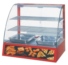 kitchen tabletop curved glass showcase heated hot pie snacks food warmer display case sale