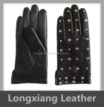wearing sheep skin ladies fashion leather gloves with studs