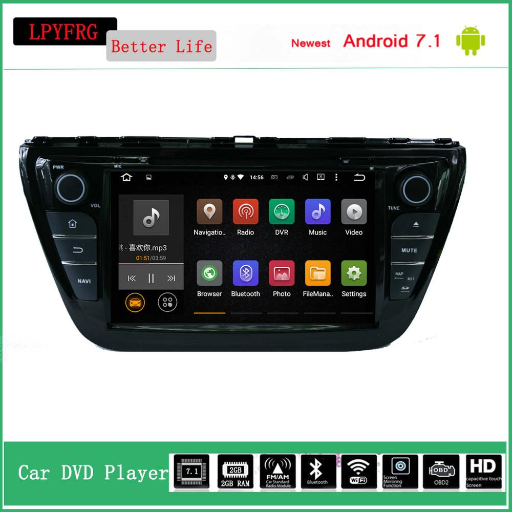 android 7.1 car auto radio audio stereo for suzuki s cross sx4 2014 built in 3/4 lte 2g ram quad core cheap price