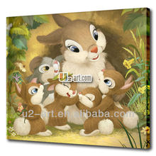 Printed canvas rabbit oil painting for kids room wall decoration
