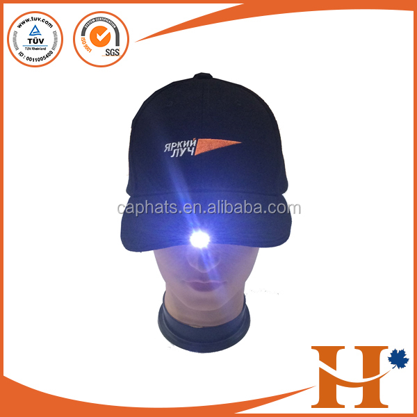 High quality led light cap and hat with custom embroidery logo,wholesale kids led light hat