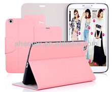 2014 New product Leather flip wallet case for samsung tab 3 8.0inch tablet PC case