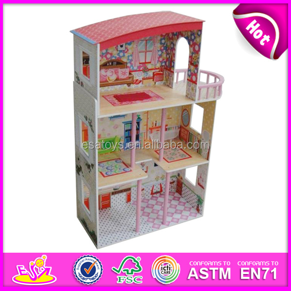 2015 New cute kids wooden doll house toy,popular lovely children wooden doll house,fashion DIY toyW06A081-x