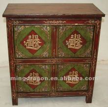 Chinese antique furniture pine wood colorful Tibetan cabinet