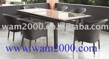 patio garden aluminum PE rattan glass top extension dining table and chairs